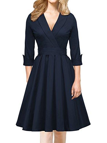 iLover Damen Abendkleid 3/4 Ärmel V Neck bowknot Cocktailkleid Rockabilly 50er Jahre Party Brismaid Swing Kleid NavyBlue (Up Kostüme Mädchen Jahre 50er Pin)