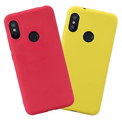 EuCase 2X Funda Xiaomi Redmi Note 7 Silicona Carcasa Redmi Note 7 Antigolpes Suave TPU Flexible Ultra Delgada Goma Cubierta Protector Bumper Case para Caja Tapa Carcasa Amarillo Rojo