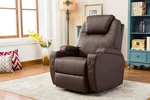 MCombo Massagesessel Fernsehsessel Relaxsessel Braun mit Heizung Dreh 360° Schaukel -
