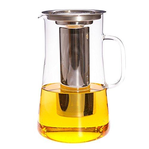 Trendglas Jena Teekanne / Teebereiter HUDSON mit Deckel und Edelstahlfilter, 2,5 l - Hitzebeständiges Glas Teekanne