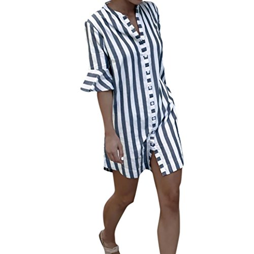 Dinglong Art- und Weisehemd-Frauen-Sommer-Horn-Hülsen-gestreiftes gedrucktes halbe Hülsen-Oberseiten-langes Blusen-T-Shirt -