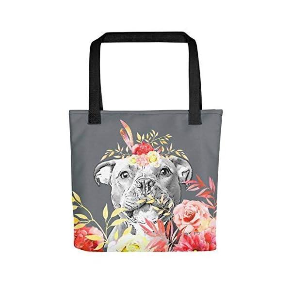 Staffordshire Bull Terrier Tote Bag - Red Flowers - handmade-bags