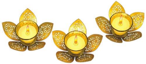 Borosil Lotus Tea Light, Gold, 12cm, Set of 3