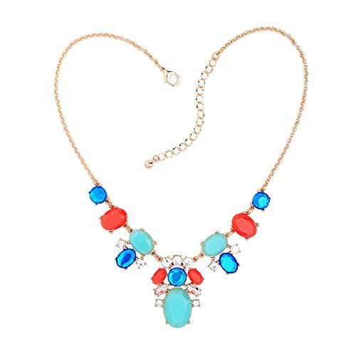 TLLAMG Halskette Oval Imitation Edelstein Cluster Halskette Für Frauen Online-Shopping India Fashion Geometric Halskette Schmuck Collares