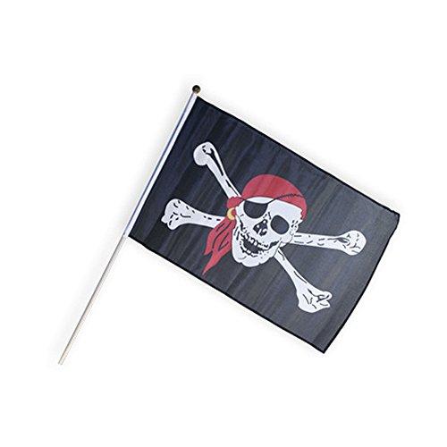 Koakid Piratenflagge klein 30x45 Stab 60 cm Flagge Pirat schwarz (Hexe Krone)