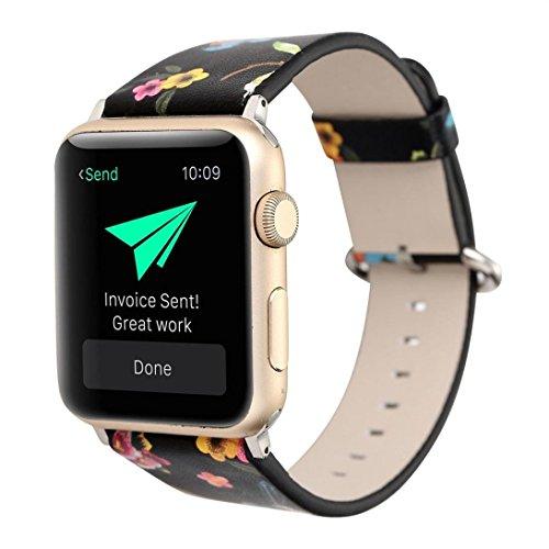 para Apple Watch 38MM,PANY Correa de Cuero Banda de reemplazo Pulsera Tour Correa de Reloj Cuero Blando Diseño de Temporadas Reemplazo de Correa de Cuero Flor