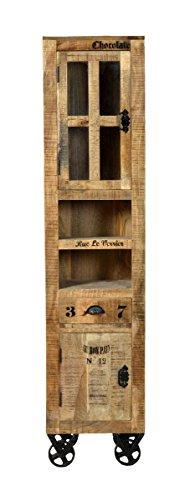 Sit Möbel Rustic 1905-04 Hochschrank mit 2 Türen, 1 Schublade, 2 offene Fächer, aus Mangoholz, Antik, braun, Wortprints, 34 x 44 x 191 cm