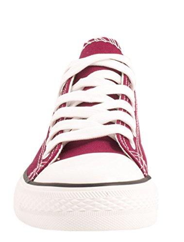 Elara Unisex Sneaker | Bequeme Sportschuhe für Damen und Herren | Low Top Turnschuh Textil Schuhe Bordorot