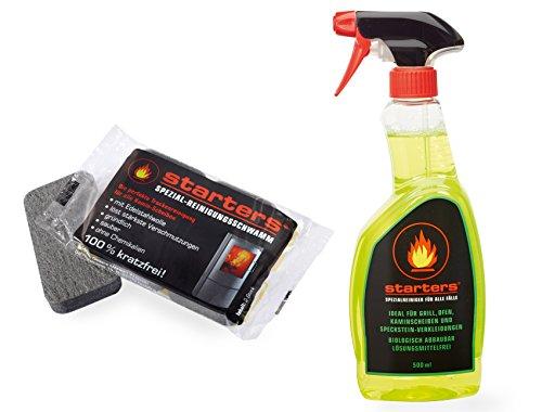 Ofen-Reinigungsset: Spezialreiniger (500ml) und 1 Doppelpack Profi- Kaminscheiben-Reinigungsschwämme von starters®