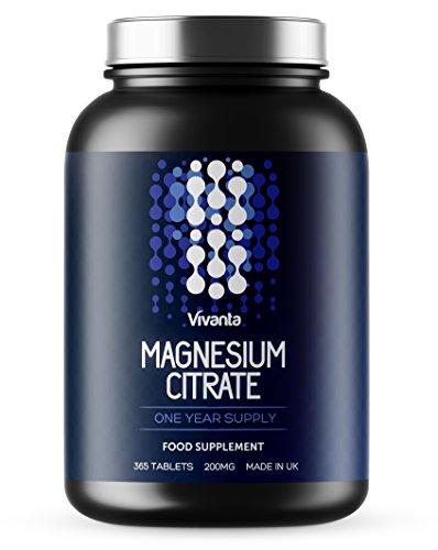 Magnesiumcitrat - 200mg x 365 Tabletten   1 Jahresbedarf   Geeignet für Vegetarier & Veganer   Höchste Qualität, hergestellt in Großbritannien   365 Magnesium-Tabletten