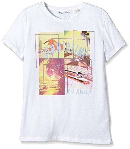 Pepe Jeans Lex - T-shirt - Imprimé - Garçon - Blanc (Factory Whte) - 16 ans (Taille fabricant: M)