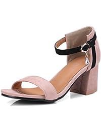 117107adf9d2c OALEEN Sandales Bout Ouvert Femme Talon Hauts Bloc Bride Cheville Suède  Strass Chaussures Soirée