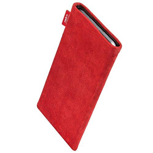 fitBAG Groove Silber Handytasche Tasche aus feinem Folienleder Echtleder mit Microfaserinnenfutter für Apple iPhone 5 Folk Rot