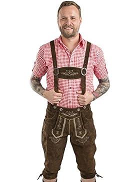 Herren Wiesnstolz Trachtenlederhose - Kniebundhose mit Hosenträgern Oktoberfest Lederhose