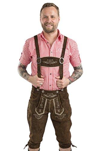 Herren Wiesnstolz Trachtenlederhose braun Kniebundhose mit Trägern Original Trachten Lederhose (46, dunkelbraun)