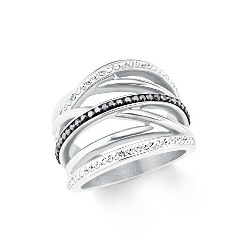 s.Oliver Damen-Ring Edelstahl Swarovski Kristalle-Breite 18mm