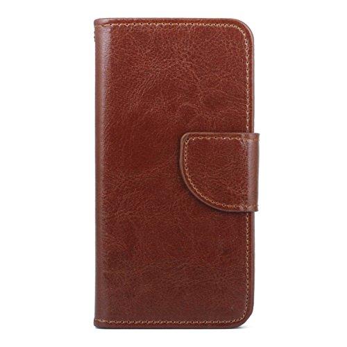 """MOONCASE pour iPhone 6 / 6S (4.7"""") Case Cuir Portefeuille Coque en Housse de Protection Étui à rabat Case Blanc Brun #0308"""