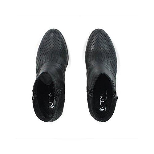 Stivaletti Tronchetti Ankle Boots Estivi Traforati con Tacco 0206 in Vera Pelle nabuk Nero Made in Italy Nero