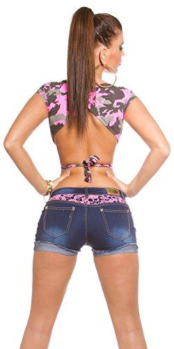 Jeans schöne Denim Shorts Damen Hot Pants destroyed Look Mini mit Spitze und Aplikationen verschiedene Farben Blau/Rosa