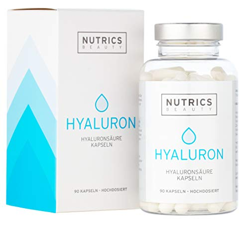 Nutrics Beauty | Hyaluronsäure + Kollagen | 90 Kapseln Hochdosiert | 300 + 300mg | Beauty Made in Germany