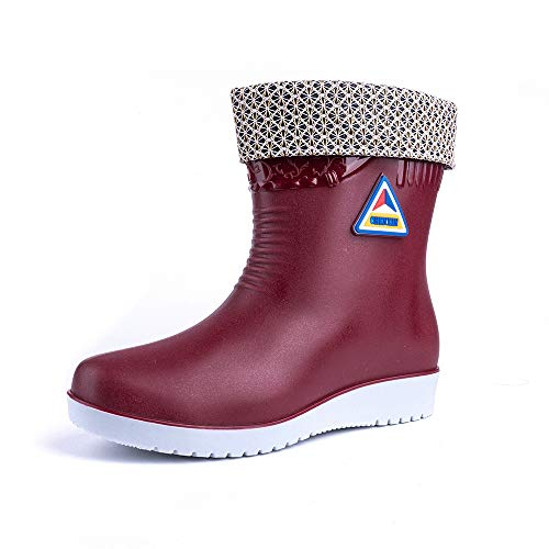 Wellington Boots Womens Short Wide Calf Rain Welly Boots Ladies Warm Ankle Winter Shoes Removable Lining 2.9 cm Waterproof Red Black Blue Beige Size 3.5-7.5