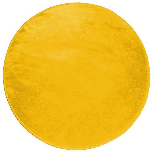 Douceur d'Intérieur Alfombra redonda de poliéster Louna, mostaza, diámetro de 90cm