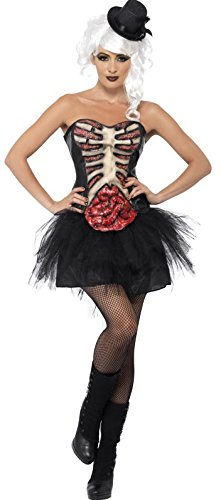 Skelett-Kostüm offene Brust Halloween für Damen (Kostüme Korsett Halloween Ideen Schwarz)