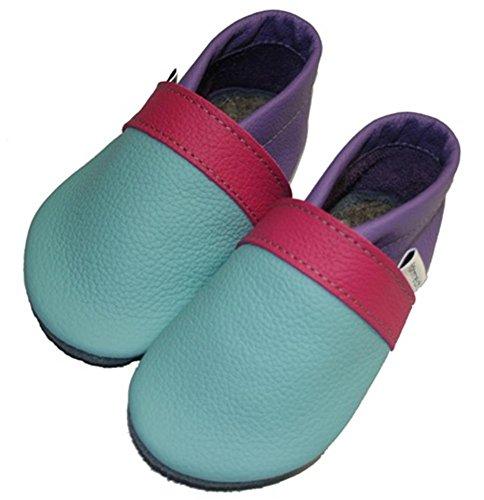 Krabbelschuhe Babyschuhe Gymnastikschuhe aqua-pink-violett