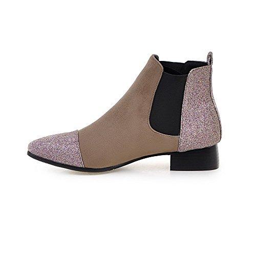 AllhqFashion Damen Niedrig-Spitze Rein Ziehen Auf Stiefel mit Paillette Aprikosen Farbe