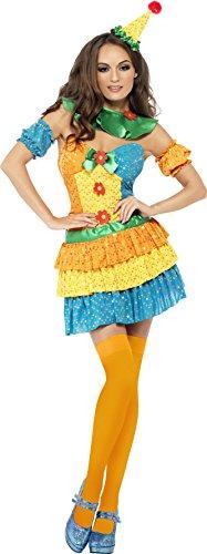 Smiffys, Damen Süßer Clown Kostüm, Kleid, Halskrause und Hut, Größe: L, ()