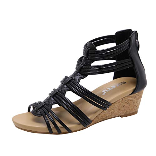 Sandales Femmes Compensees Pas Cher Confortables Chaussure Femme Ete Mode Casual Grand Taille Romaines Sandal