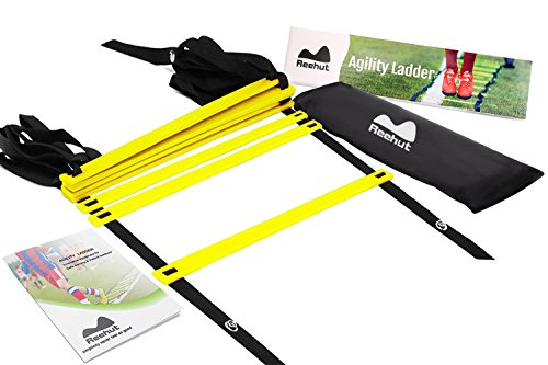 Reehut Speed Ladder Marchio Borsa di Trasporto – Scaletta da 8 Gradini, Colore Blu per Allenamento di velocità ad Alta Intensità - Giallo, 8 Gradini