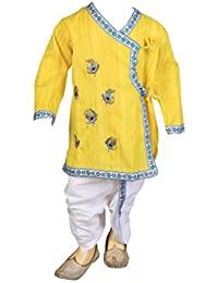 FOCIL Yellow Peacock Feather Embroidery Kurta and Dhoti Pant Set for Kids