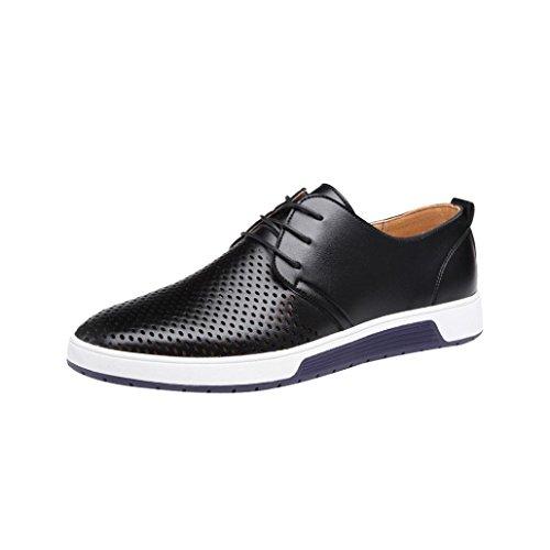 Herren Sneaker LHWY Männer Sommer Herbst Breathable Slipper Lace Up Geschäfts Freizeit Hohle Feste Lederne Flache Business Schuhe (42, Schwarz)