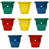 Kraft Seeds Gamla/Planter/Pot (10 inch, Multicolour, Set of 8)