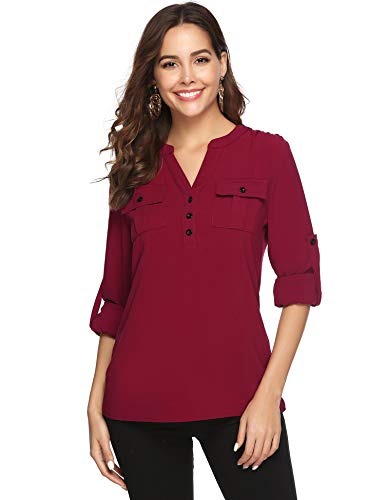 Aibrou Damen Bluse mit V-Ausschnitt Langarmshirt Casual Elegant Blusen Hemd Oberteil Tops Shirts mit Tasche (Kleidung Bluse Junior)