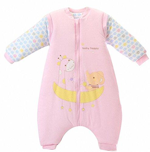 Gigoteuse bébé hiver Manches Coton Longues -garcon -Fille Happy Dream pyjama enfant confort combinaison à pieds. (Éléphant-Girafe-Rose, M:80-90CM (12- 24 mois))