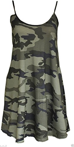 Damen Lang Cami Cami Uni Strappy Swing Kleid Weste Top Flared ärmellos Green Camo Army