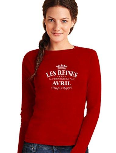 Green Turtle T-Shirts les Reines Sont Nées en Avril - Anniversaire T-Shirt Manches Longues Femme Rouge