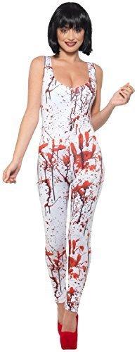 Fancy Me Damen Sexy Weiß Blut Spritzer Befleckt Zombie Apocalypse Halloween Kostüm Kleid Outfit - Weiß, UK 12-14 (EU ()