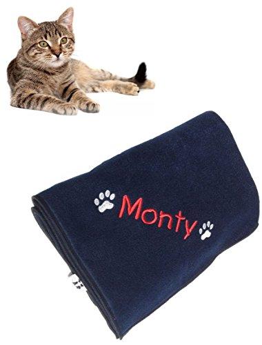 hundeinfo24.de Katzen-/Hundedecke, personalisiert, kuschelig, Fleece, 70x79cm, Marineblau Für die Personalisierung der Decke bitte den Namen bzw. das gewünschte Wort per Geschenkmitteilungsfeld mitteilen. Dieses ist auf der Kaufabwicklungsseite zu finden.