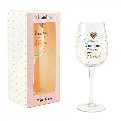 Always My Grandma Forever My Friend Gift Boxed Wine Glass By Mad Dots