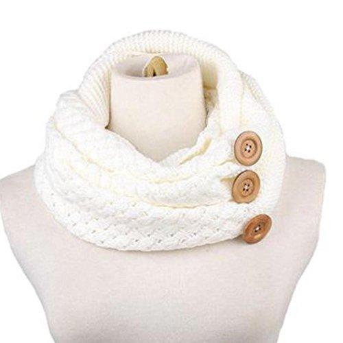 Tefamore Bufanda Mujer Chal De Cuello Caliente De Moda De Botón Otoño Invierno (Blanco)