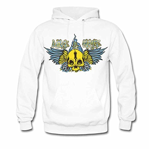 Flower Wing Skull Love and Hate Gothic Style Sweatshirt Women's Hoodies 3XL