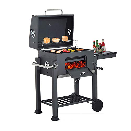 41E8wxJJYqL. SS500  - HomeZone® Large Premium BBQ Charcoal Smoker - Portable Trolley Barrel - Adjustable Height Cooking Grill and Warming Shelf - Heat Resistant Black Steel Storage Shelf, Side Table