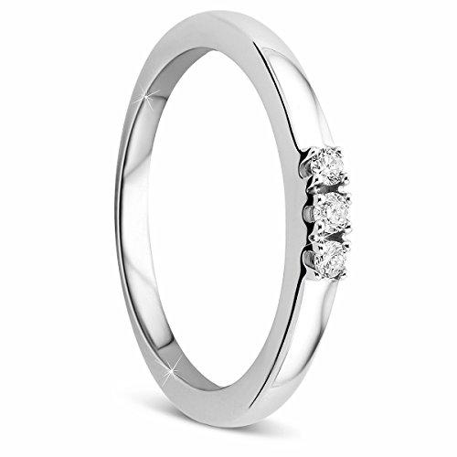 Orovi Damen-Ring Memoire HochzeitsringWeißgold 9 Karat (375) 3 Brillianten 0.09 carat Verlobungsring Diamantring