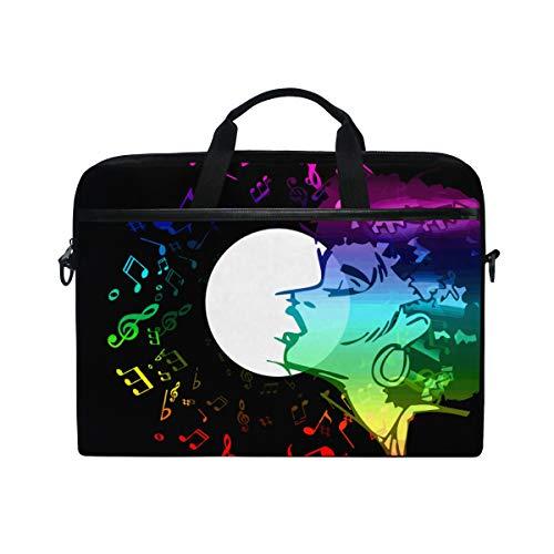 LOSNINA 15-15.4 inch Laptop Tasche,Sängerin Frau Gesang Musik Jazz Blues,Neue Leinwand Drucken Muster Aktentasche Laptop Schulter Messenger Handtasche Case Sleeve