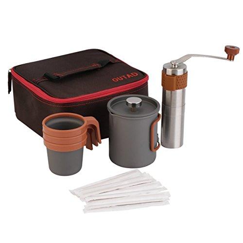 OUTAD Kaffeemaschine 20fl.oz Französisch Presse Kaffeemaschine Manuelle Grinder Set (Farbe: Multicolor)