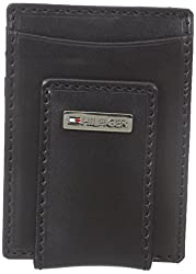 Tommy Hilfiger Mens Fordham Front Pocket Wallet, Black, One Size