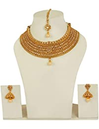 MUCH MORE Brass Made Gold Plated Ethnic Design Polki Necklace Set For Womens